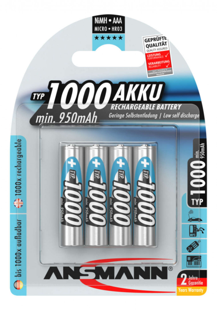 Ansmann NiMH Rechargeable battery AAA / HR03 Typ 1000 (min. 950 mAh) 4 pcs.