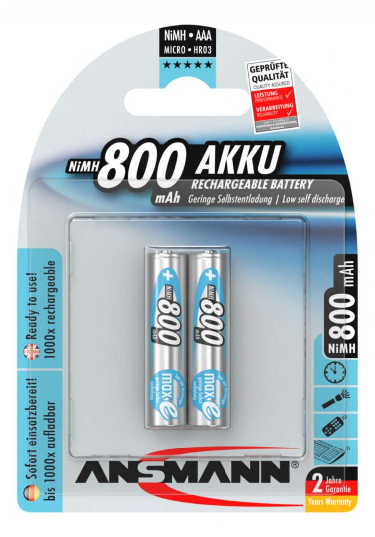 Ansmann NiMH Rechargeable battery AAA / HR03 800 mAh maxE 2 pcs.
