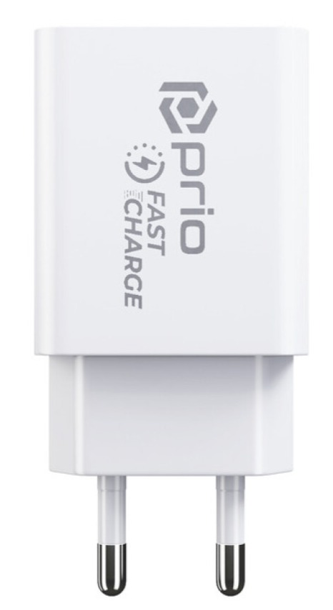 Prio Fast Charge Wall Charger 18W PD(USB-C)+QC 3.0(USB-A),_x000D_ white