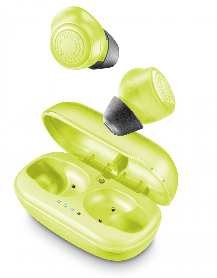 Cellular Line PETIT-Wireless inear Bluetooth earphones with battery charger Lime