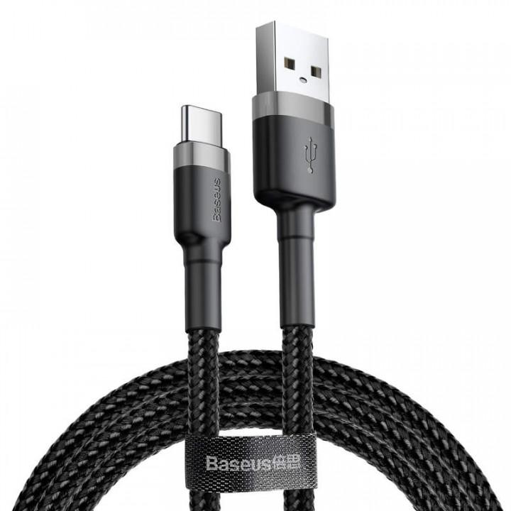 Baseus Type-C Cafule Cable 2A 2m Gray + Black CATKLF-CG1