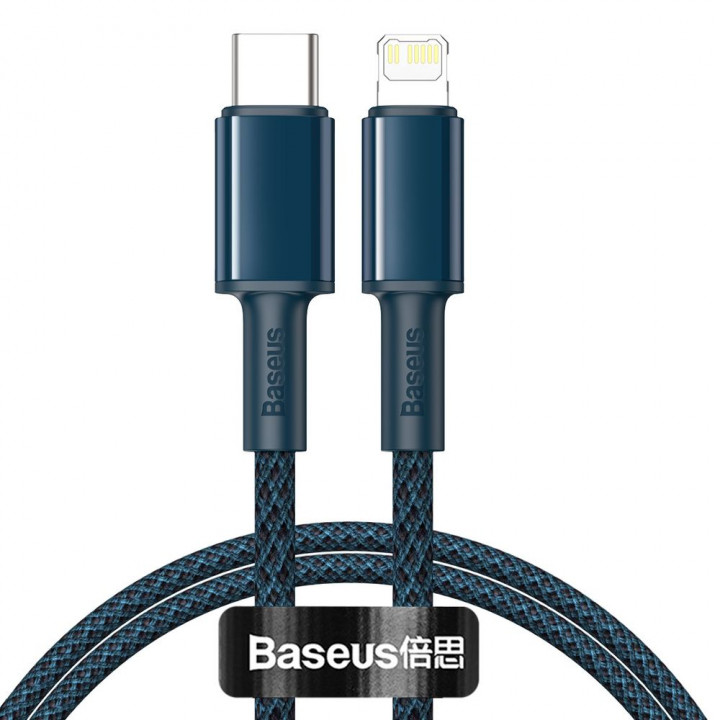 Baseus Type-C - Lightning High Density Braided Fast charging cable PD 20W 1m Blue CATLGD-03