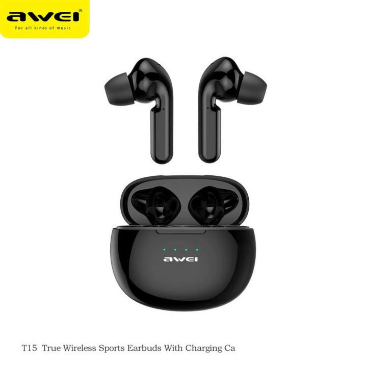 AWEI T15 TWS EARPHONES W/ CHARGING CASE - IPX4 - BLACK