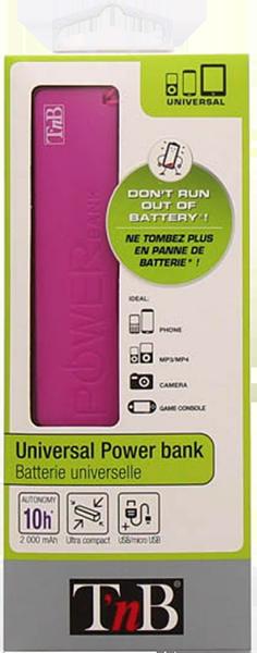 TnB Universal Power Bank 2000 MAH - PINK