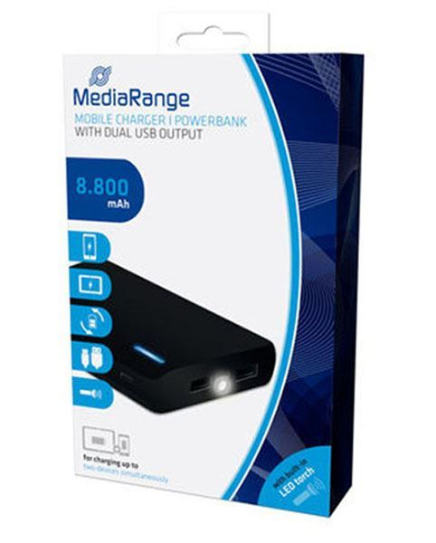MediaRange Power Bank 8800mAh with Dual USB Output and built-in torch MR752