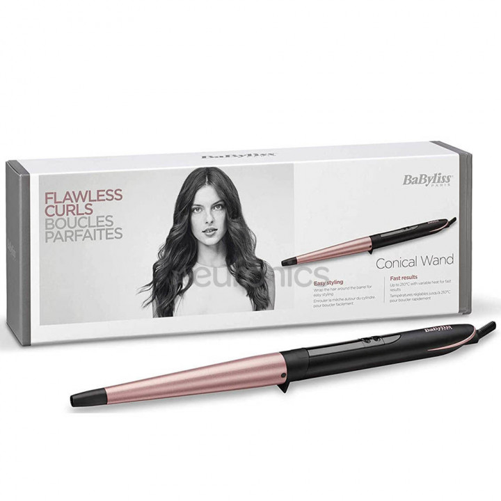BaByliss Conical Wand Curling wand Warm Black, Pink 2.5 m