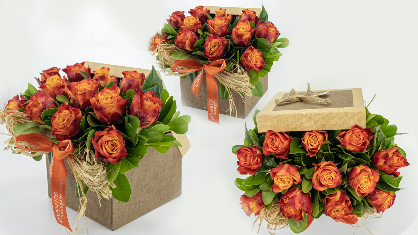 Square box with roses