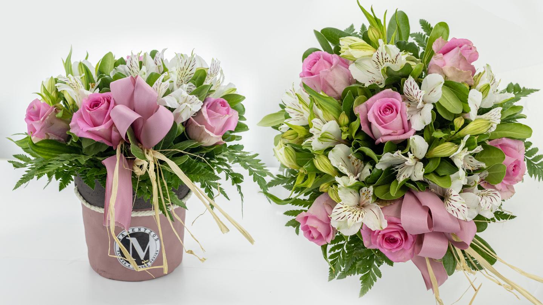 Purple pot with roses & alstroemeria