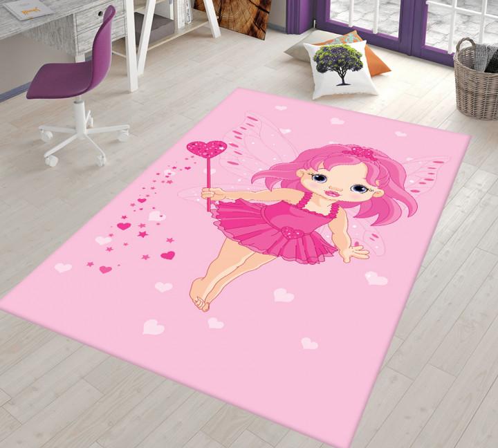 Pink Fairy kids carpet - Micro Polyester Fabric - 100X150cm