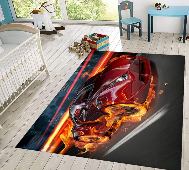 Flaming Car Kids Carpet - Micro Polyester Fabric - 100X150cm