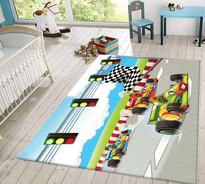 Race Cars kids carpet - Micro Polyester Fabric - 100X150cm