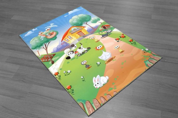 Farm House kids carpet - Micro Polyester Fabric - 100X150cm