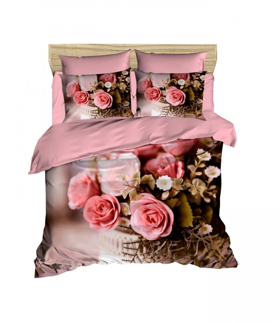 Children SINGLE DUVET COVER SET with BED SHEETS AND PILLOW CASES - Roses Design