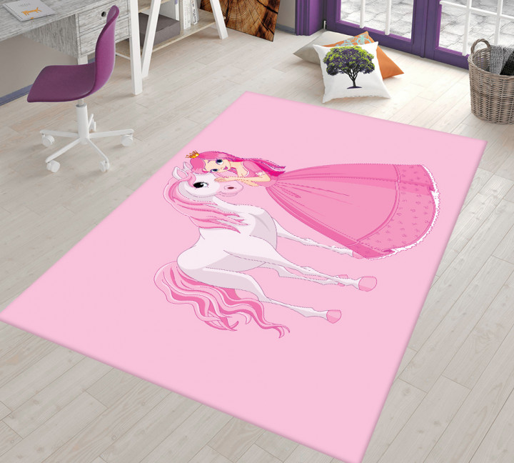 Princess and horse kids carpet - Micro Polyester Fabric - 100X150cm