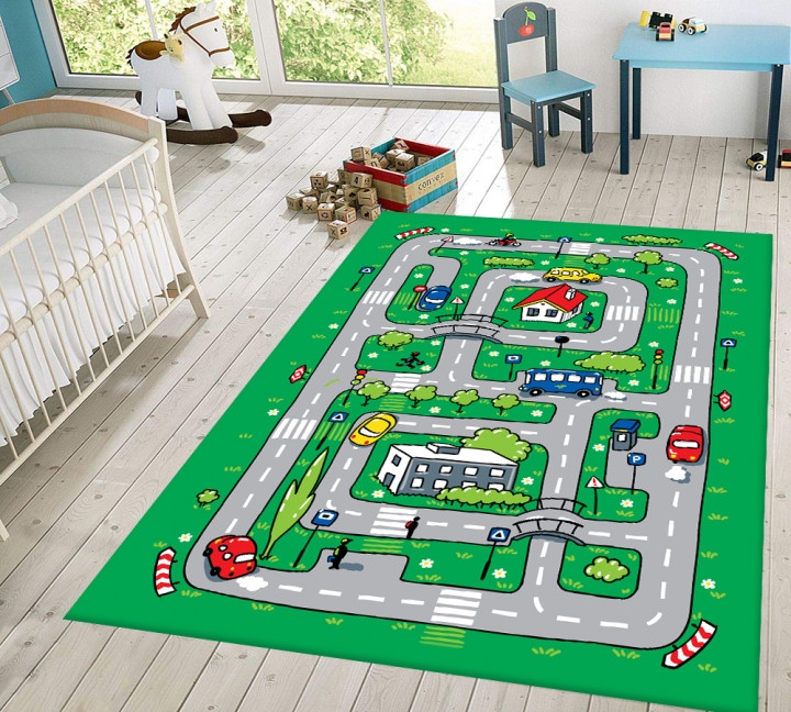 Roads kids carpet - Micro Polyester Fabric - 100X150cm