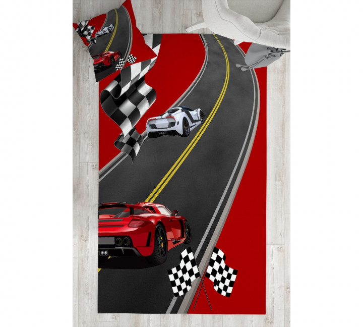 Red Sport Car kids carpet - Micro Polyester Fabric - 100X150cm