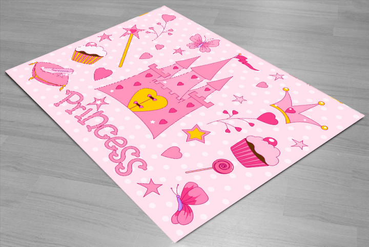 Princess Castle kids carpet - Micro Polyester Fabric - 100X150cm