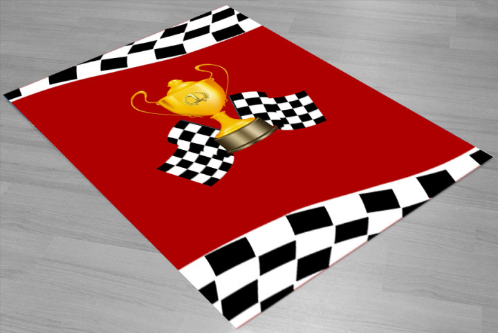 Racing trophy kids carpet - Micro Polyester Fabric - 100X150cm