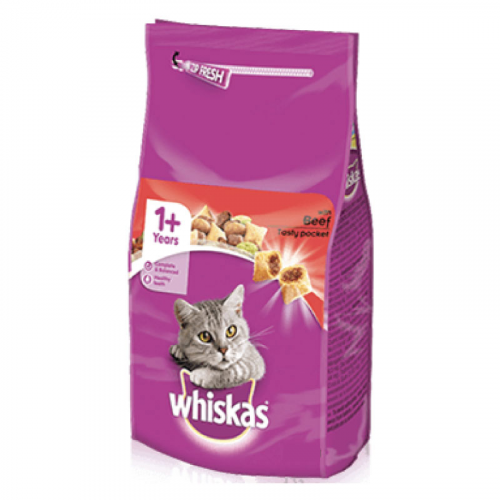 WHISKAS DRY ADULT CAT FOOD WITH BEEF 350G