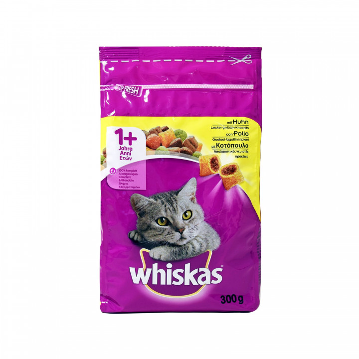 WHISKAS DRY ADULT CAT FOOD WITH CHICKEN 300G