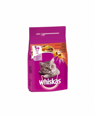 WHISKAS DRY ADULT CAT FOOD WITH BEEF 1.4KG