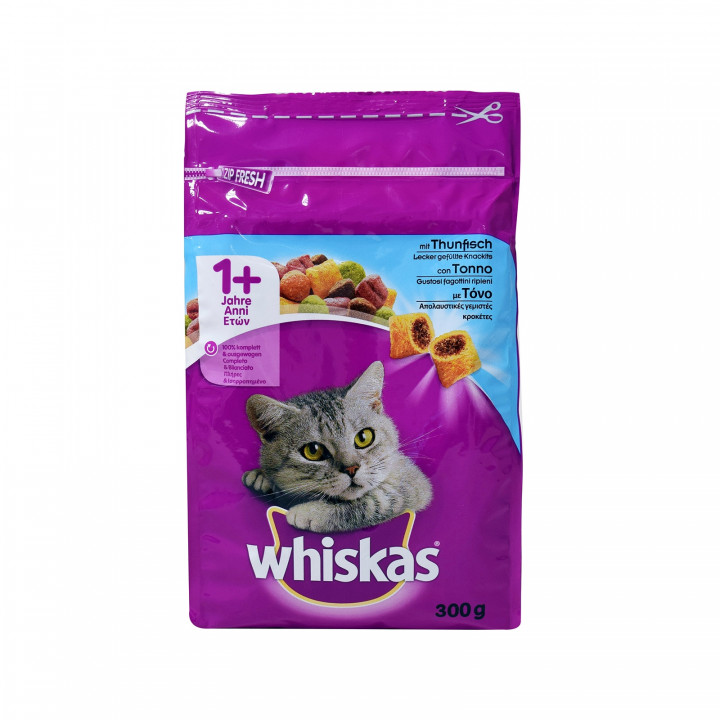 WHISKAS DRY ADULT CAT FOOD WITH TUNA 300G