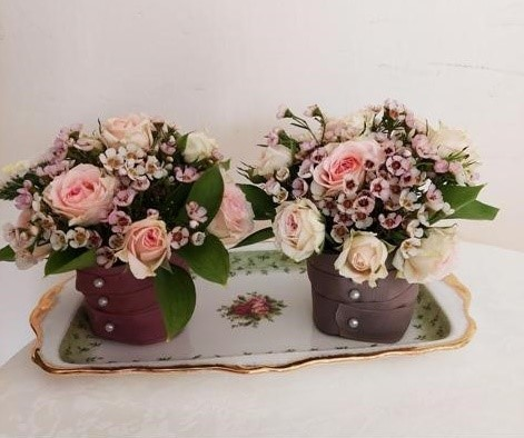2 Table Mini Bouquets - English Style