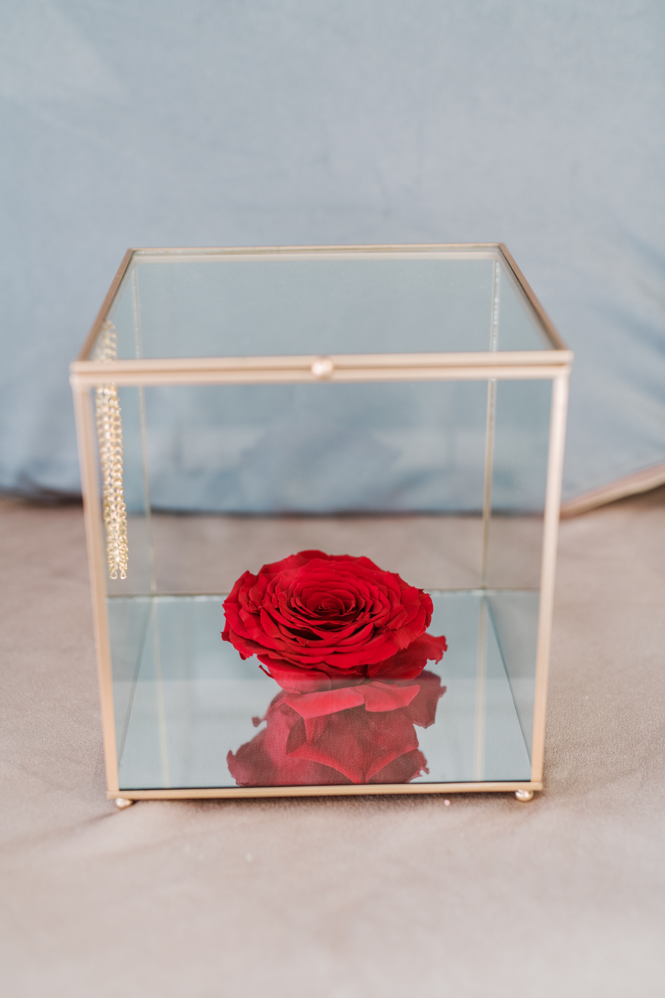 Big For Ever Roses in a Gold glass box