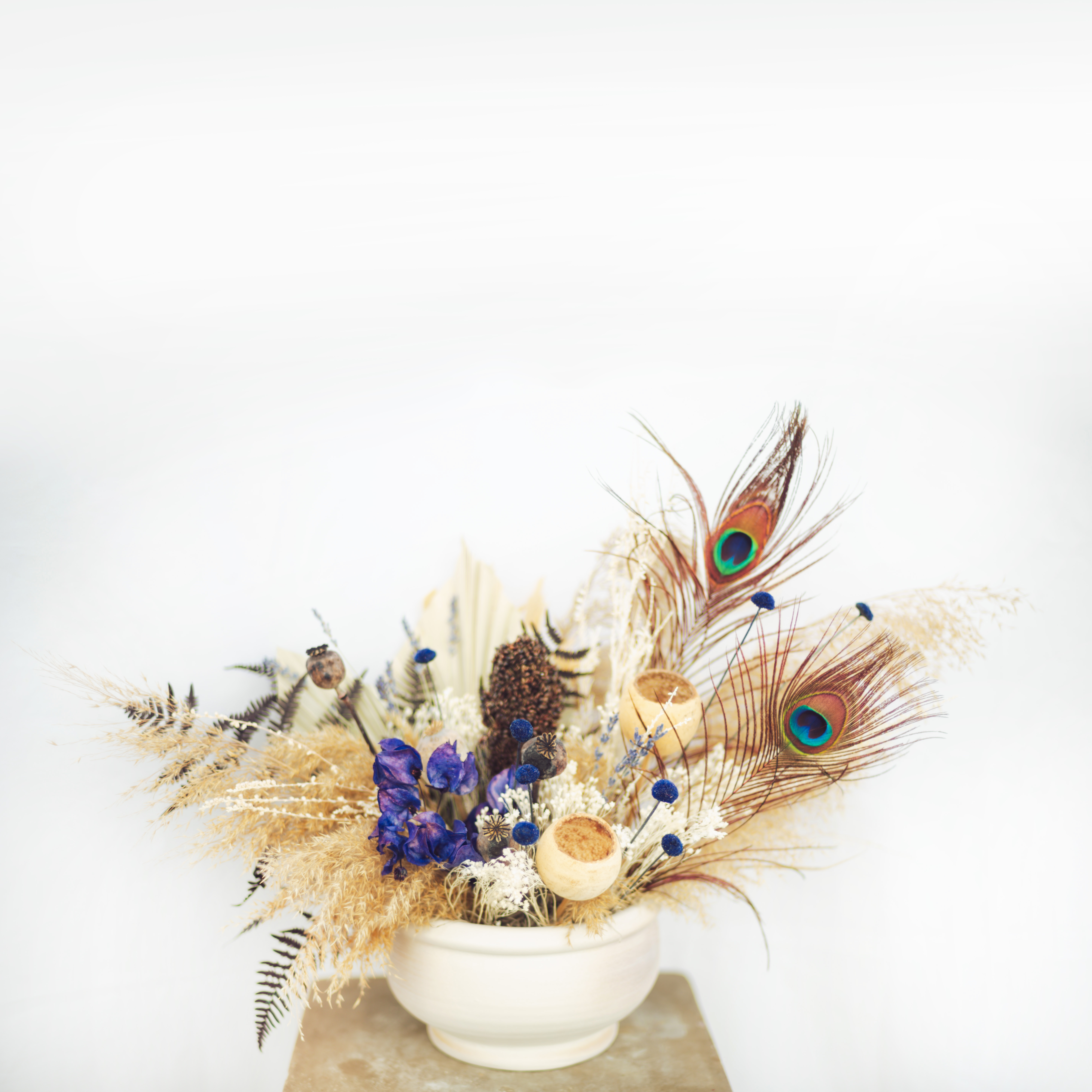 White And Blue fried Flowers Arrangment