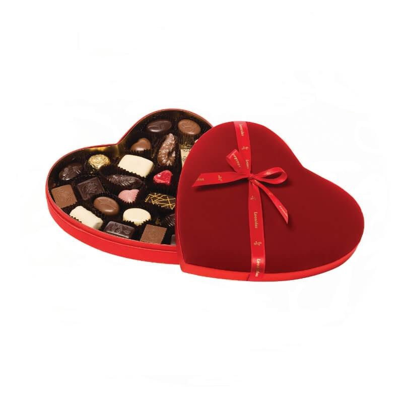 Red Velvet Heart Box Medium with Pralines