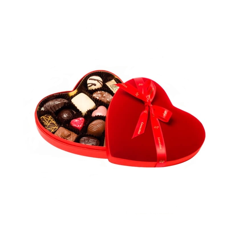 Red Velvet Heart Box Small with Pralines