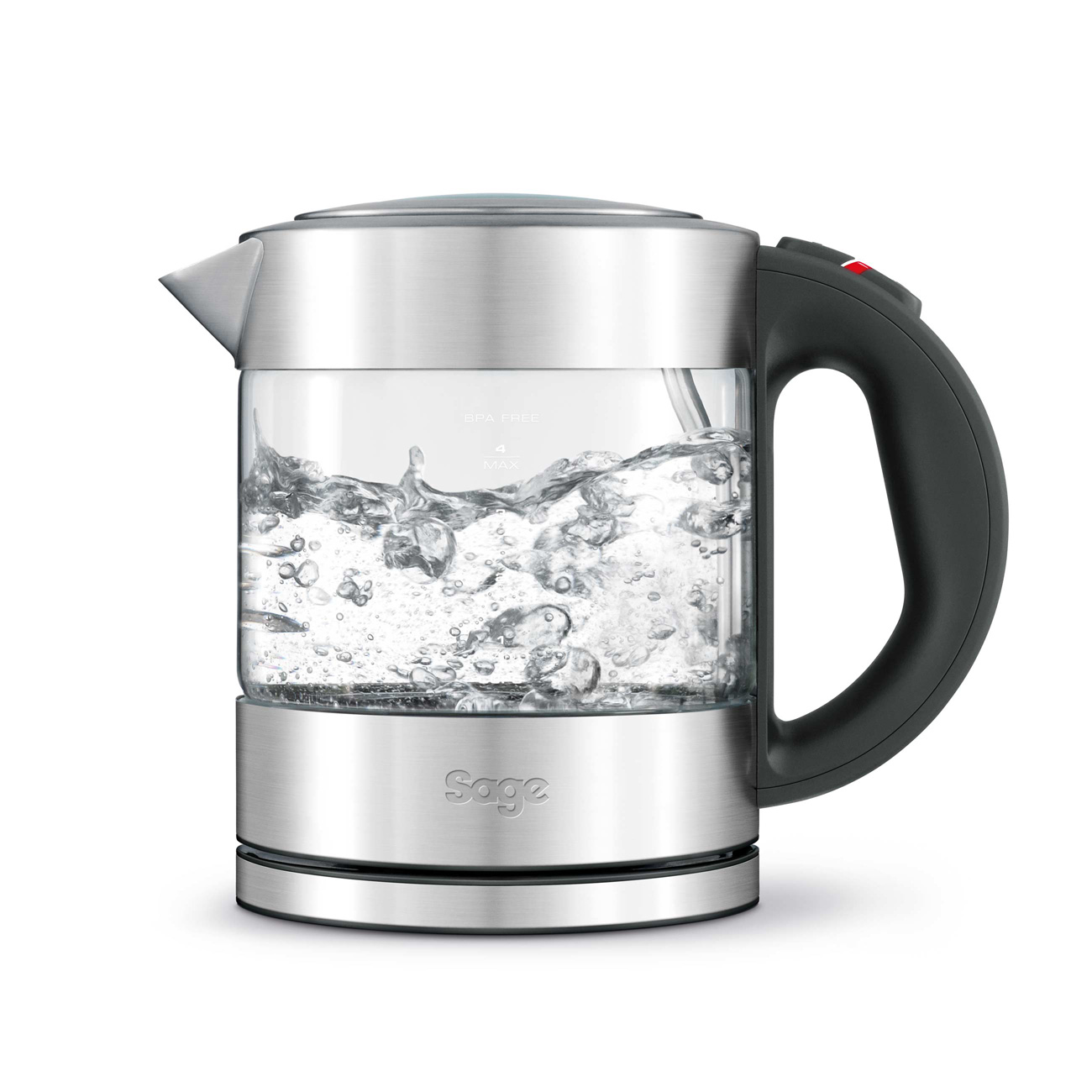 Sage BKE395UK the Compact Glass Kettle, 1lt, Silver