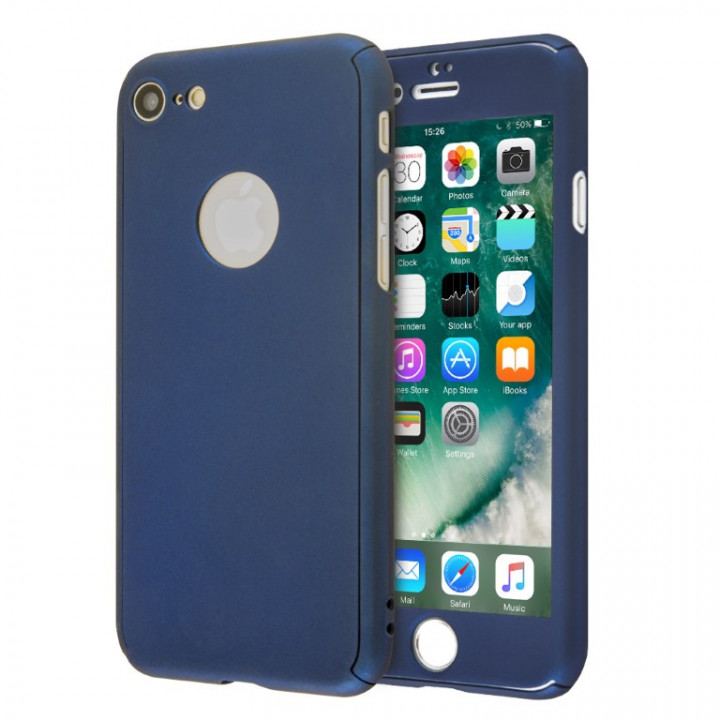 360 Full Hard Cover and Tempered Glass Case for iPhone 8