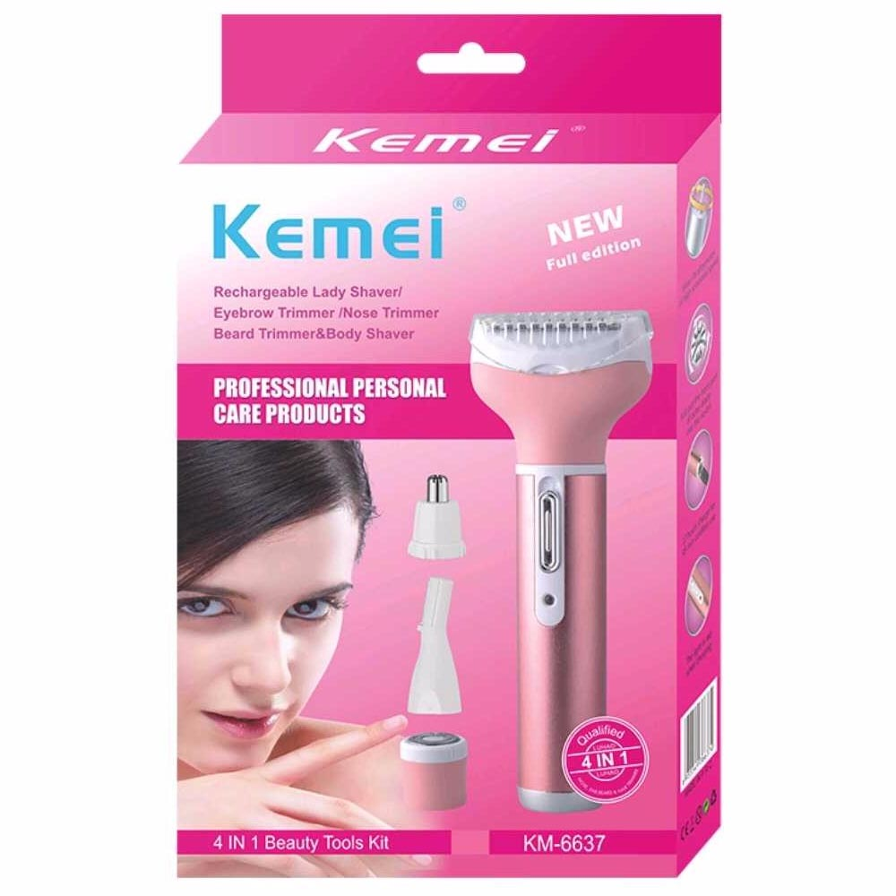 Kemei KM-6637 Electric Shaver 4 in 1 Rechargeable Hair Trimmer Women Hair Removal Machine Epilator Eyebrow Nose Trimmer Razor