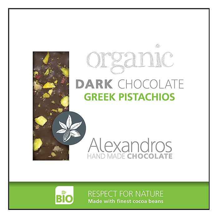 ALEXANDROS DARK CHOCOLATE WITH GREEK PISTACHIOS 90G BIO