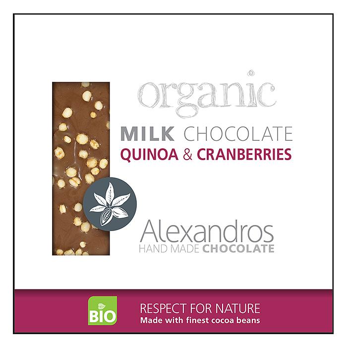 ALEXANDROS MILK CHOCOLATE WITH QUINOA-CRANBERRIES 90G BIO