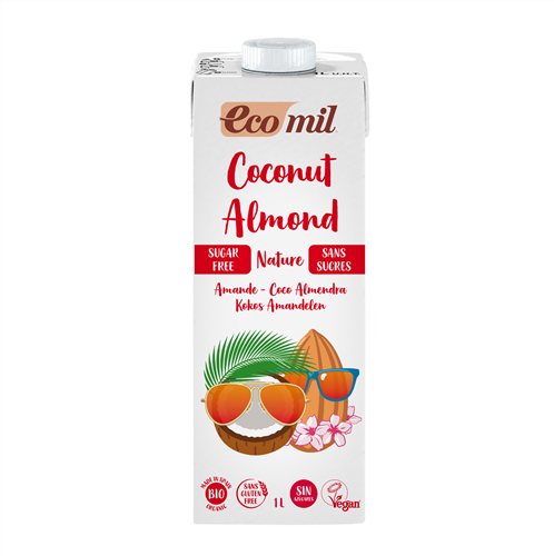 ECOMIL COCONUT ALMOND MILK SUGAR FREE 1LT BIO