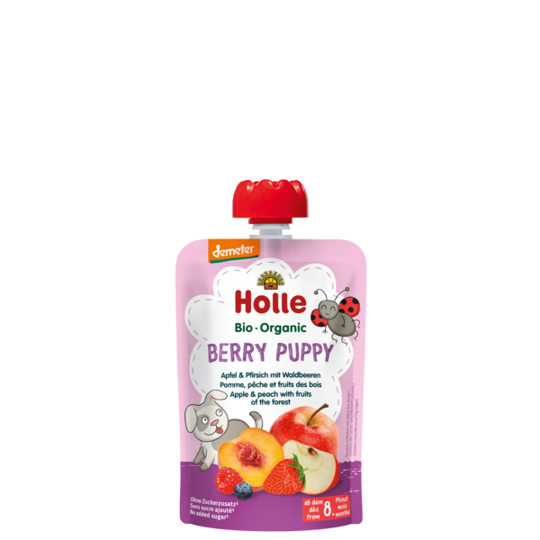 HOLLE POUCH BERRY PUPPY - APPLE PEACH FOREST FRUITS FROM 8 MONTHS - 90G BIO