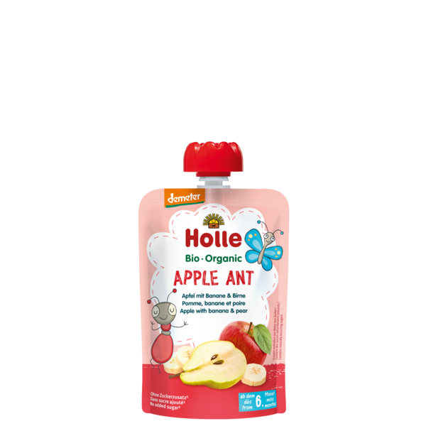 HOLLE POUCH APPLE ANT - APPLE BANANA PEAR FROM 6 MONTHS - 100G BIO