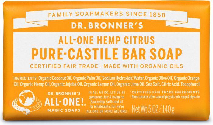 DR. BRONNERS CITRUS ORANGE SOAP BAR 140G