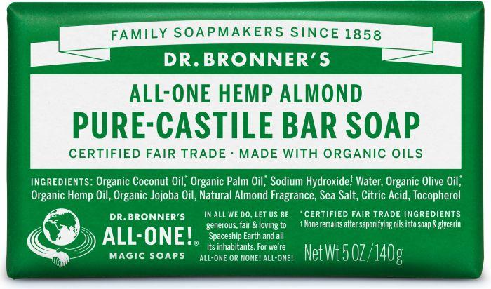 DR. BRONNERS HEMP ALMOND CASTILE SOAP BAR 140G