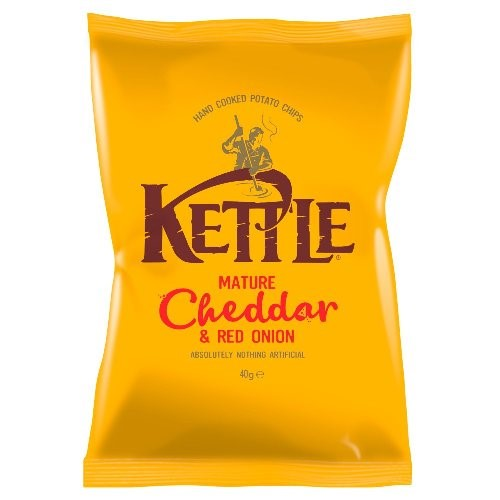 KETTLE CHEESE & RED ONION CHIPS 40G