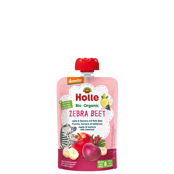 HOLLE POUCH ZEBRA BEET - APPLE BANANA BEETROOT FROM 6 MONTHS - 100G BIO