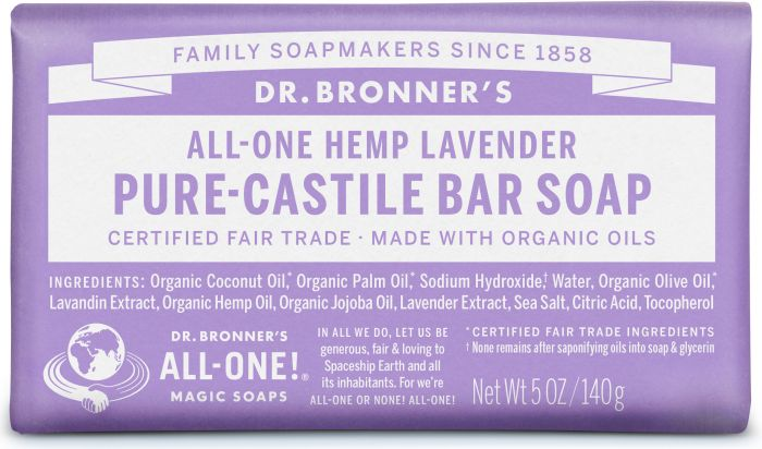 DR. BRONNERS HEMP LAVENDER CASTILE SOAP BAR 140G