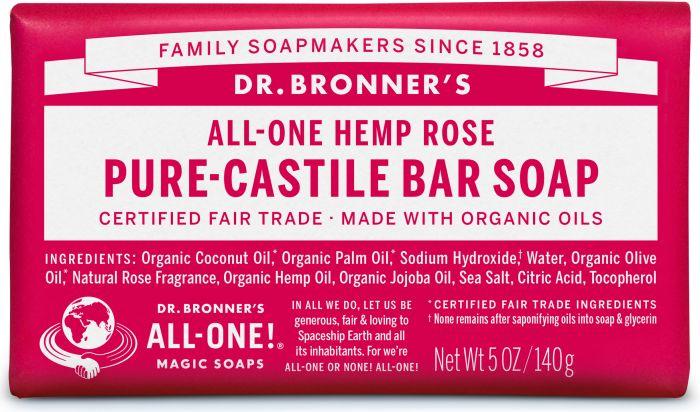 DR. BRONNERS HEMP ROSE CASTILE SOAP BAR 140G