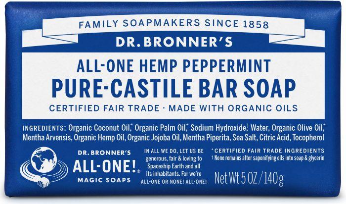 DR. BRONNERS HEMP PEPPERMINT SOAP BAR 140G