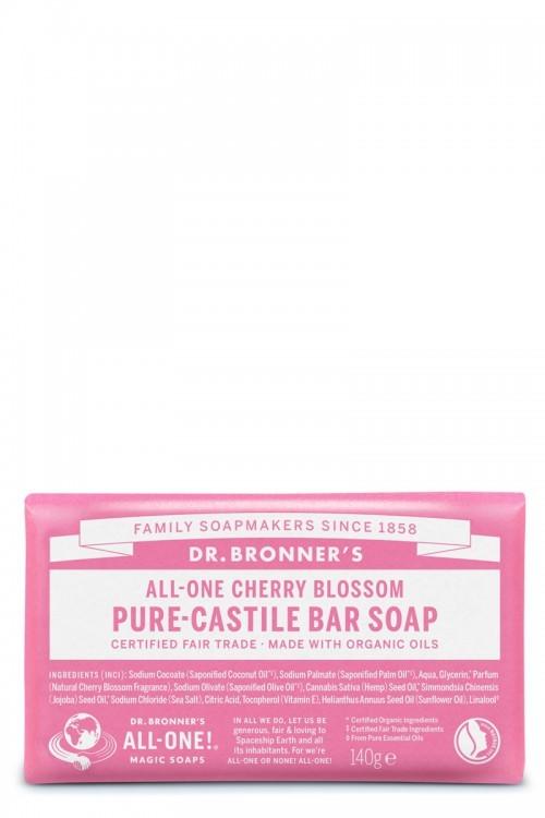 DR. BRONNERS CHERRY BLOSSOM CASTILLE SOAP BAR 140G