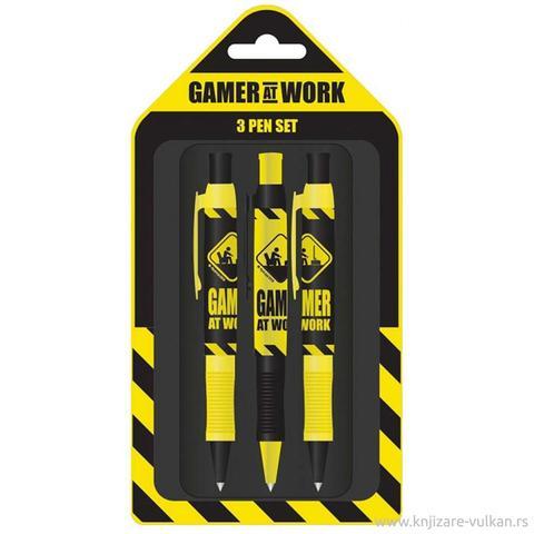 GAMER AT WORK (CAUTION SIGN) - 3 PEN SET