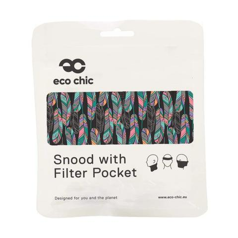 ECO CHIC - REUSABLE SNOOD - BLACK FEATHERS