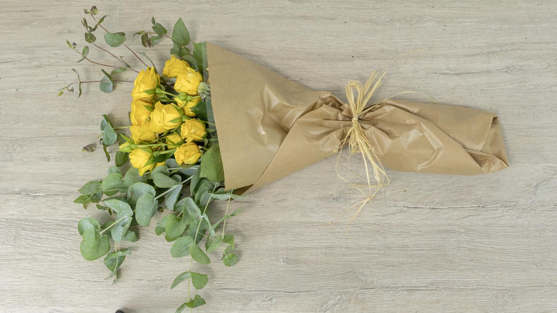 Yellow mini rose bouquet